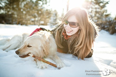 My Loves (Ryan Pimiskern) Tags: woman dog snow playing max love sunshine backlight goldenretriever puppy outdoors happy backyard lab action heather goldenlab joy happiness running stick backlit snowfall loveable throwing sunnyday ef35mmf14l canoneos5dmkii