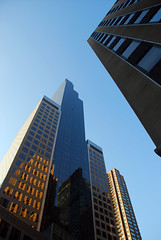 Skyscrapers, New York (subjectivexperience) Tags: world new york city blue windows sky urban usa building tower glass skyline architecture modern america buildings corporate design town office high globe construction downtown cityscape exterior apartment skyscrapers graphic outdoor district background modernism center structure business growth highrise metropolis tall concept financial moderninsm usausausausa newyorknewyorknewyorknewy