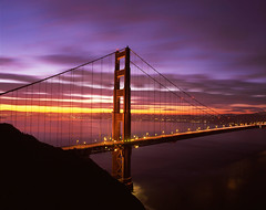 Golden Gate Color Palette (RZ68) Tags: city bridge light motion color tower film colors clouds sunrise dawn lights golden bay gate san francisco long exposure marin north battery velvia headlands 6x7 spencer provia ggnra e100 rz68