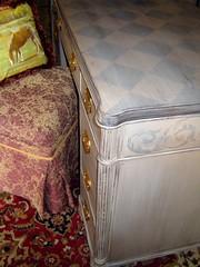 Desk (tinycowlick) Tags: diamonds vintage desk furniture antique handpainted diamondpattern acanthusleaves