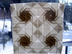 4 octagons (ЗЗ) Tags: art paper geometry twist tessellation tessellations tesselation paperfolding papiroflexia fujimoto chrispalmer octagons dodecagon flowertower shadowfold