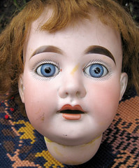Armand Marseille 1894 Fixer Head 056 (badhesterprynne) Tags: old baby cute broken face smiling vintage germany weird scary sweet antique blueeyes bisque eerie haunted spooky german worn babydoll friendly weathered haunting damaged glasseyes porcelain rosycheeks dollhead tlc realistic dollface shabby chubbycheeks bulgingeyes vintagedoll antiquedoll armandmarseille bisquedoll bulgyeyes blueglasseyes chinapretty flangehead