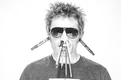 No. 4 (Mike Dodd Photo) Tags: portrait white man sunglasses crazy stupid messyhair highkey pens inserted mikedodd