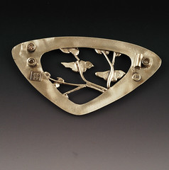Treetop 2 (back) - FAM #6 (VickieHallmark) Tags: tree bird set silver back leaf stones brooch tube sterling reverse vickie hallmark