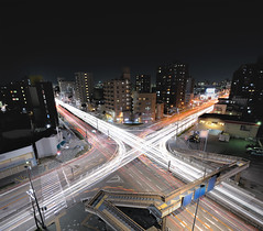 "Alphabet Letter X ""Car light trails"" Nagoya (Shin-Nagoya) Tags: longexposure panorama japan dark lowlight crossing footbridge x nagoya nightview nightphoto   aichi afterdark  citynight lighttrail lightstream urbannight nightimage localstreet nightpanorama carlighttrail nightcityscape afsnikkor1424mmf28g"