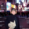 Seara (sea rabbit) and Dr. Takeshi Yamada in Times Square in Manhattan, New York on December 28, 2011.  20111228 062