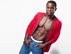 Red Black and Blue (petetaylor) Tags: red black underwear chest stomach jeans tummy nigel cardigan sixpack alienbees africancanadian beautydish petertaylorphotography fireflybeautybox
