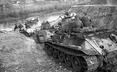 """Soviet T-34s crossing river • <a style=""""font-size:0.8em;"""" href=""""http://www.flickr.com/photos/81723459@N04/13464055574/"""" target=""""_blank"""">View on Flickr</a>"""