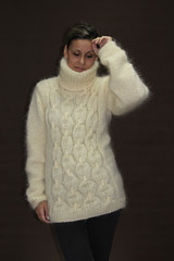 Womens Extravagantza mohair turtleneck (Mytwist) Tags: white sweater hand fuzzy knit fluffy cable mohair turtleneck thick extravagantza