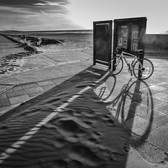366-124 - evening shadows (Ruth_W) Tags: shadow beach bike mono evening sand 365 wirral newbrighton merseyside