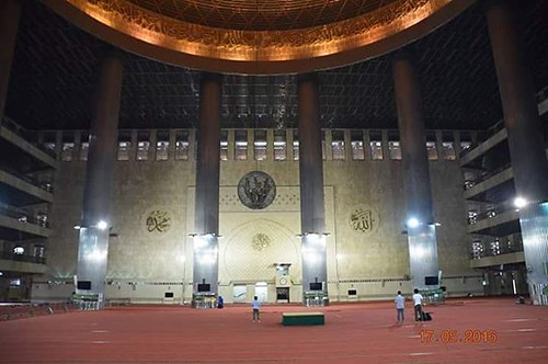 """#Istiqlal #masjed """" #mosque """" #copper #doom very #beautiful and #Amazing #colors and #Arabic #font  #Allah #Mohamed and the #Shahada #words ... #great #feelings  #Jakarta #Indonesia  This #view stealing the #soul and the #mind and makes you hold your #bre"""