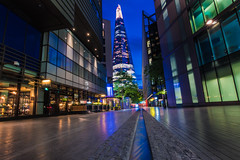 urban scenery.... #London #Shard (dtapkir) Tags: street city uk longexposure blue windows england sky reflection building tree green london water colors night fun lights nikon cityscape angle weekend low happiness citylights d750 mm shard tallest 1835