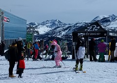 Pink unicorns are real and enjoy skiing Whistler (Ruth and Dave) Tags: pink animal whistler costume skiresort creature unicorn skier mythical whistlerblackcomb