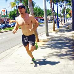 IMG_9044 (danimaniacs) Tags: street shirtless man hot sexy guy hat beard hunk run cap shorts runner westhollywood jog stud jogger scruff mansolo
