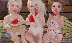 Glamrus Kids . Juicy Summer AD (Glamrus∆) Tags: life family summer color cute me kids pose children happy photography smiles watermelon sl explore secondlife messy second poses slphotography slposes slevent glamrus colormecute slpose glamruskids