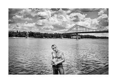 On the riverside (Jan Dobrovsky) Tags: street city people bw contrast grain figure document fujifilm kiev charecter dnieperriver x100t