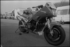 FJ1100 (ihavenowords) Tags: yamaha fj fj100 bike cycle motorbike motorcycle race racing racer 80s 1984 superbike tourer sports motorsports four snetterton 2015 racetrack circuit track olympus om1 om1n film camera analogue foma fomapan 100 mono monochrome black white home developed ilford ddx 28mm zuiko lens epson 4490 scan scanned negative 35mm