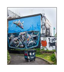 Graffiti (Masai & Fanakapan, Horror Crew, etc), East London, England. (Joseph O'Malley64) Tags: uk greatbritain chimney england streetart london tarmac wall dumpster balloons graffiti mural paint scaffolding britain render murals spray fishtank fireescape scaffold british walls cans aerosol masai brickwork eastend eastlondon wheeliebin wallmurals muralists securityspikes horrorcrew fanakapan louismasai themeetingofstyles granitekerbing