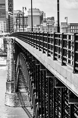 Eads Bridge (Jae at Wits End) Tags: city bridge blackandwhite bw white black color building monochrome architecture outside grey blackwhite exterior outdoor gray places structure infrastructure