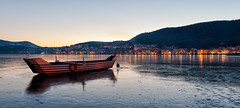 Kastoria (Nick-K (Nikos Koutoulas)) Tags: sunset lake ice boat greece  kastoria