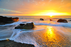 Golden Beach @  (Vincent_Ting) Tags: light sunset sky seascape water clouds rocks waves taiwan   milky  silky crepuscularrays      vincentting