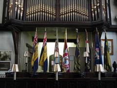 Flags and organ (pefkosmad) Tags: uk england choir bristol pipes flags organ collegegreen lordmayorschapel bristolcitycouncil gauntschapel municipalchapel
