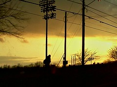 Day 161/366 8Feb12 (katie.i.do) Tags: trees sunset lights soccer telephone pedestrian wires lone poles wfu