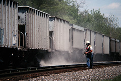 Pouring rock (view2share) Tags: railroad train work illinois track ns labor working may indy railway rr trains 1999 il repair mow cr effingham ballast sping csx conrail geep mainline emd may1999 gp382 gp38 ballasttrain maintenanceofway stlouisline may81999 indianapolisdivision