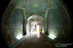 Fisheye of Hallway in Sheikh Lotf Allah Mosque - Esfahan, Iran (uncorneredmarket) Tags: iran peacock esfahan isfahan mosqueinterior sheikhlotfallahmosque persianarchitecture persiandesign