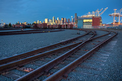 Harbor Island train tracks (mfeingol) Tags: seattle sunset train evening track line harborisland hdr portofseattle
