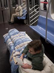 sleeper car (zlandr) Tags: street city nyc newyorkcity sleeping urban newyork streets vertical subway bed manhattan olympus mta asleep ntrain ep1 improveverywhere sleepercar inclose thedefiningtouch thesleepercar deftouch chrisfarling zlandr