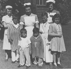 Noreen Shaw outside Lincoln Ward (childrens ward) - Summer 1955 (Voices Through Corridors) Tags: 1950s lincolnward