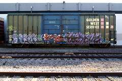 THOR  VERSUZ (TRUE 2 DEATH) Tags: railroad train graffiti tag graf trains railcar boxcar thor railways railfan freight lts freighttrain rollingstock fok kog versuz goldenwestservice benching freighttraingraffiti