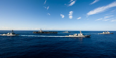 Ships from the John C. Stennis Carrier Strike Group transit the Pacific Ocean. (Official U.S. Navy Imagery) Tags: pacificocean wwwfacebookcomusnavy