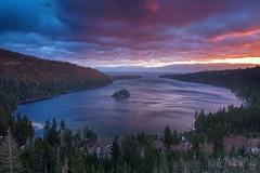 Whispers of the Storm (Willie Huang Photo) Tags: lake storm nature sunrise landscape bay scenic tahoe laketahoe sierra emerald emeraldbay southlaketahoe