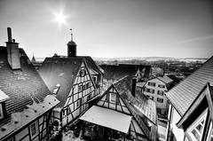 Altstadt Herrenberg 2 (Michad90) Tags: old city houses sky bw sun white black buildings germany nikon altstadt hdr herrenberg 10mm d90