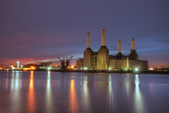 First Sun (TheFella) Tags: uk greatbritain morning chimney england sky sun building slr london water station thames clouds digital photoshop sunrise canon river four eos dawn photo high europe power dynamic unitedkingdom capital landmark photograph processing gb 5d dslr battersea range riverthames hdr highdynamicrange chimneys listed batterseapowerstation markii postprocessing photomatix thefella 5dmarkii conormacneill thefellaphotography adactio:post=1149
