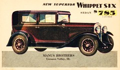 1929 Whippet Six Sedan (aldenjewell) Tags: sedan postcard whippet six 1929