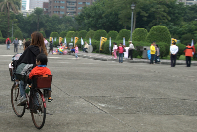 Cyclist at Sun Yat-Sen Memorial Hall