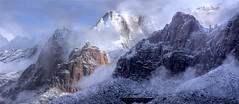 Zion Winter (Michael dawn2dawnphotography) Tags: winter snow storm cold weather clouds landscape utah nationalpark canyon blanket stockphotos zion stockimages springdale