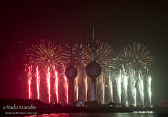 Happy Liberation Day (SanforaQ8) Tags: lighting camera light red sea white black green tower colors lens happy nikon day fireworks flag kuwait liberation kw q8 26feb 2470mm kuwaittower d3s nadamarafie nstudiolivecom 66383666