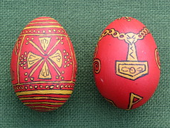Eostre Eggs 2012 (Thorskegga) Tags: england festival hammer easter cross symbol folk painted egg ceremony tradition custom thor pagan decorated blot heathen ostara thors mjolnir asatru heathenry eostre