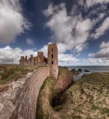 Slains Castle (P4153218) (Mel Stephens) Tags: uk panorama cliff castle geotagged coast scotland spring aberdeenshire olympus panoramic structure best coastal 99 april gps zuiko stitched hdr 43 2012 slains ptgui slaines fourthirds e620 918mm 201204