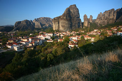 Kastraki (Katka S.) Tags: city houses light sunset shadow mountains nature grass rock stone architecture soft village hill unesco greece reservation meteora kastraki