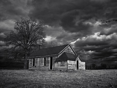Catching a Sun Beam (Rodney Harvey) Tags: blackandwhite abandoned clouds rural dark country dramatic missouri infrared schoolhouse sunbeam floodplain oneroom