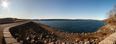 (StephanieGeiser) Tags: panorama landscape ma massachusetts reservoir lensflare ware windsordam stephaniegeiser