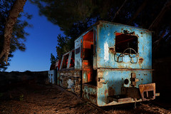 locomotive (raul_lg) Tags: espaa canon spain minas vieja murcia nocturna locomotora portman abandonada largaexposicion minimaglite canon1635 maglite3d raullg