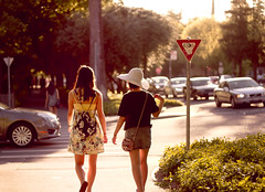 stroll (ani lynn) Tags: street trees girls friends light summer sun sunlight cars nature hat car walking 50mm golden evening spring picnic downtown day dress traffic walk hour intersection f18 davis stroll ucd ucdavis goldenhour 50mmf18 picnicday downtowndavis