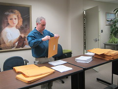 Preparing large print book list for mailing (Worcester Talking Book Library) Tags: worcesterma worcestertalkingbooklibrary snapmass12 photoreleaseonfile cwmars