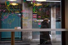 View from inside a Café (madamasu) Tags: venice italy woman café windowpainting leicaxvario
